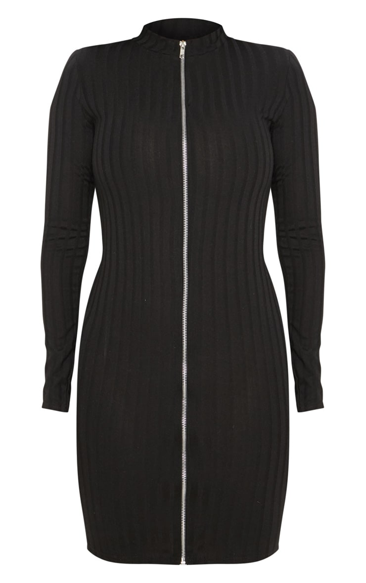 Shape Black Ribbed Zip Front Bodycon Dress 3