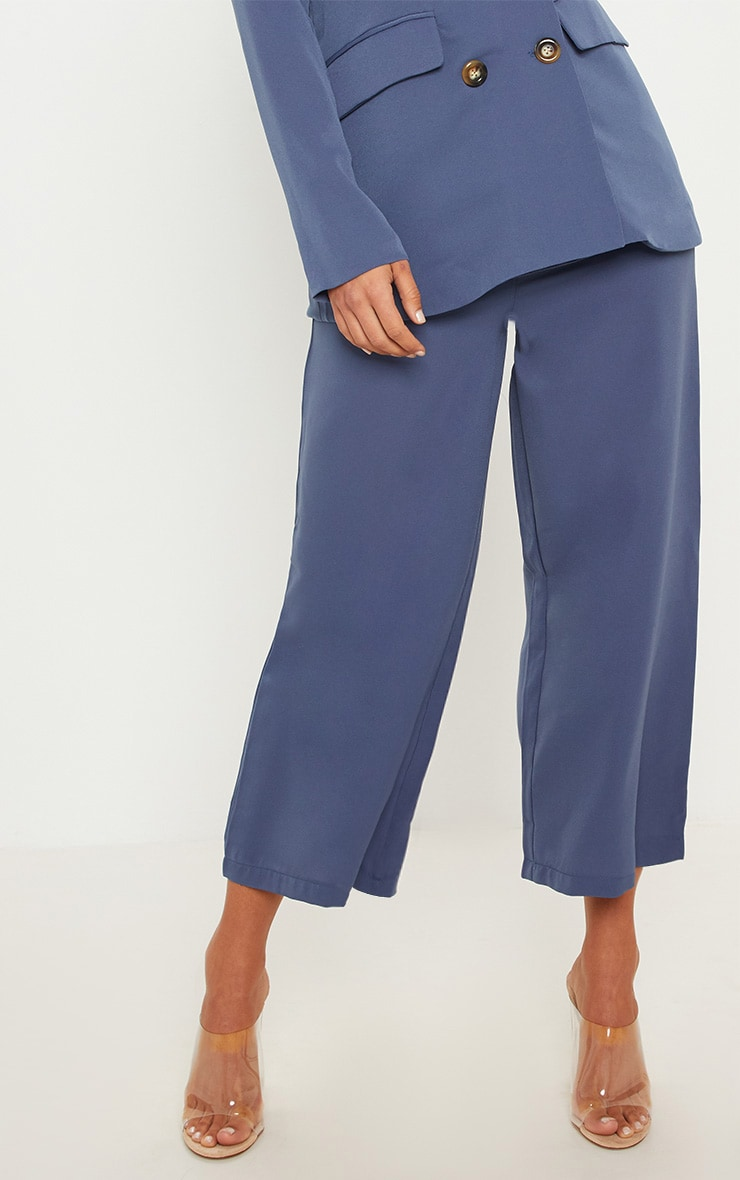 Blue Button Detail Culottes 3