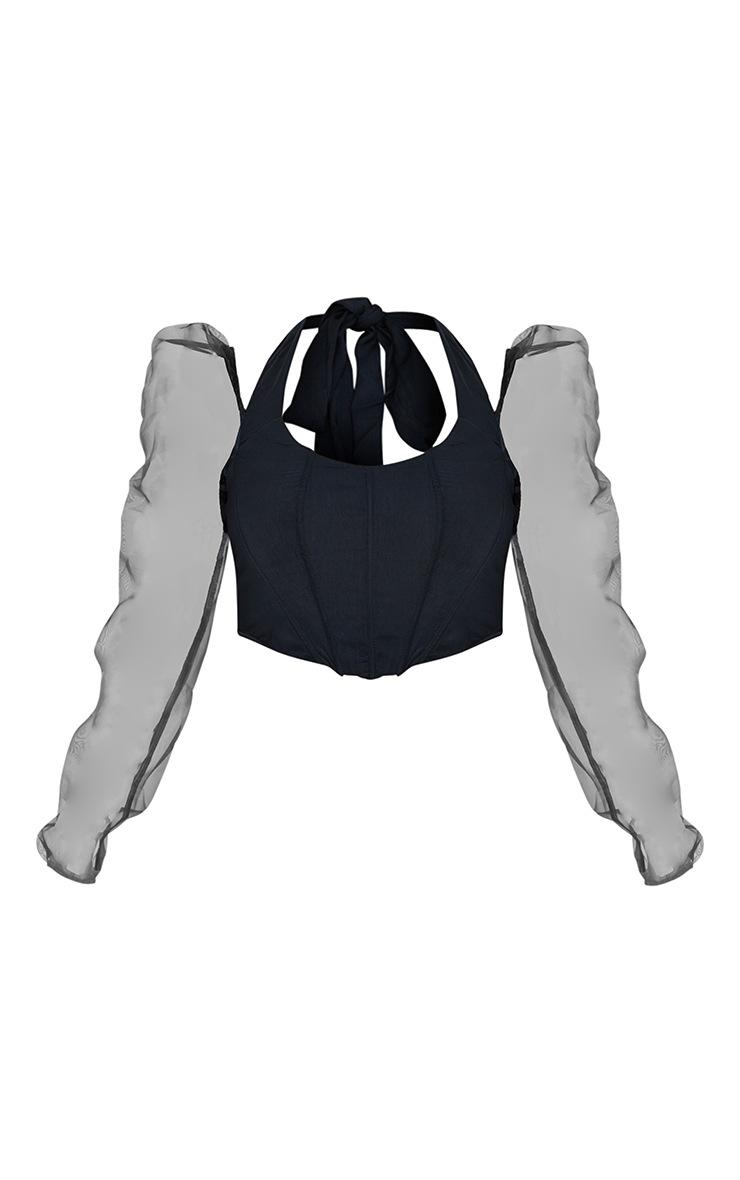 Black Satin Halterneck Cold Shoulder Corset 5