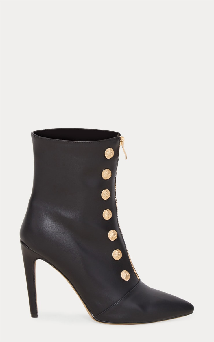 Black Gold Button Studded Ankle Boot 4