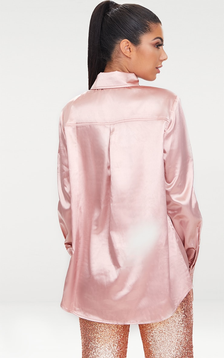 Rose Gold Satin Button Front Shirt  2