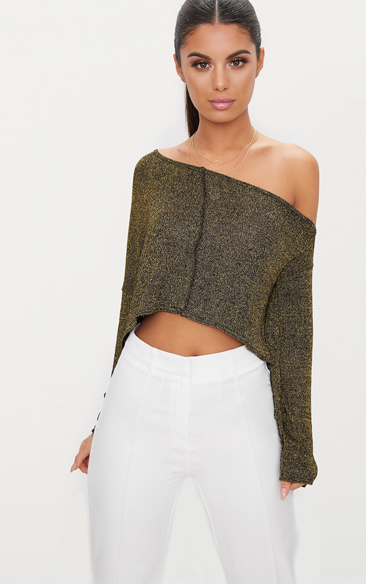 Gold Glitter Knit Off The Shoulder Crop Top 1