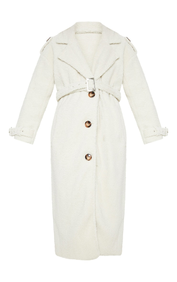 Cream Borg Oversized Belted Coat 3