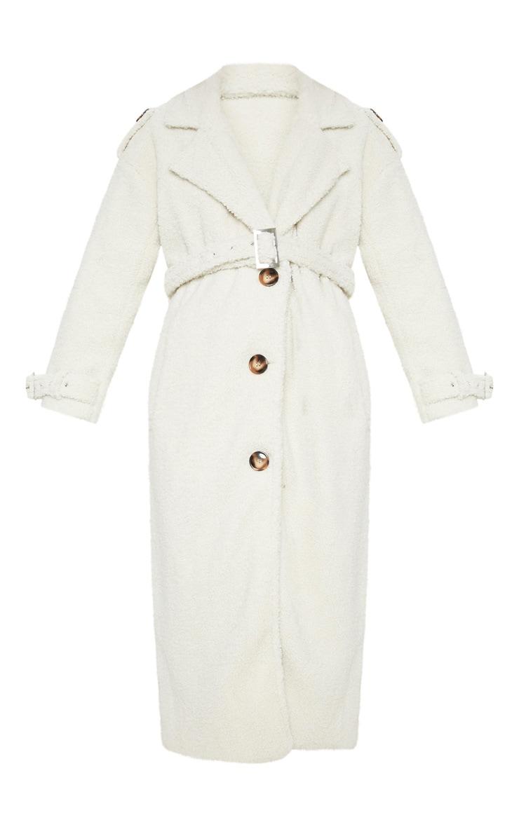 Cream Borg Oversized Belted Coat 3