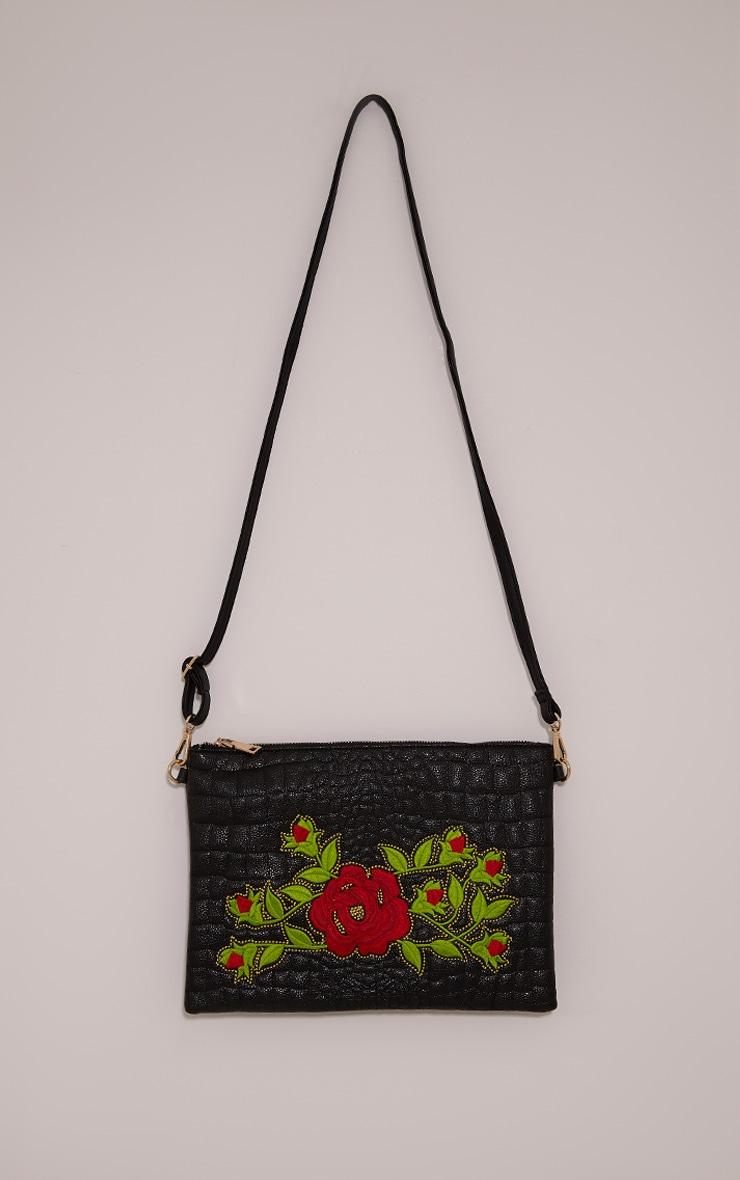Ilana Black Floral Embroidery Clutch Bag 4