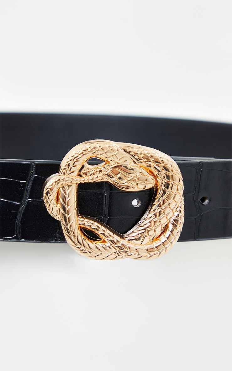 Black PU Snake Gold Twist Buckle Waist Belt 3
