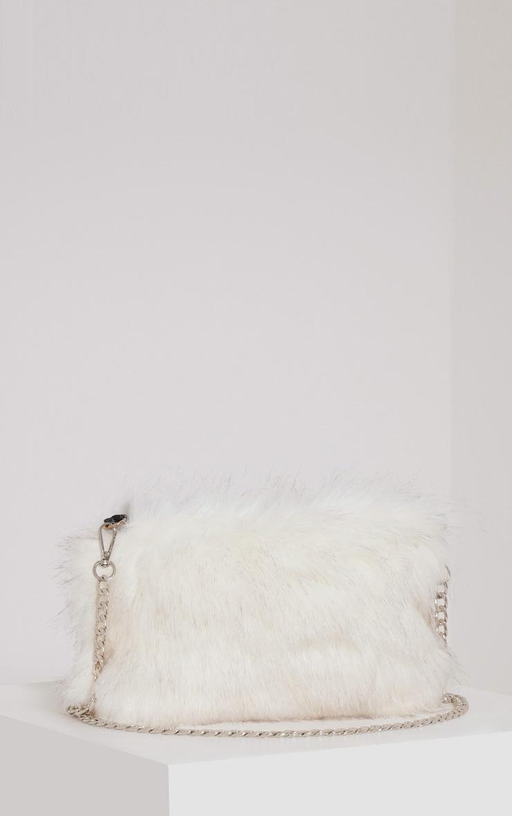 Christah White Faux Fur Chain Shoulder Bag 3