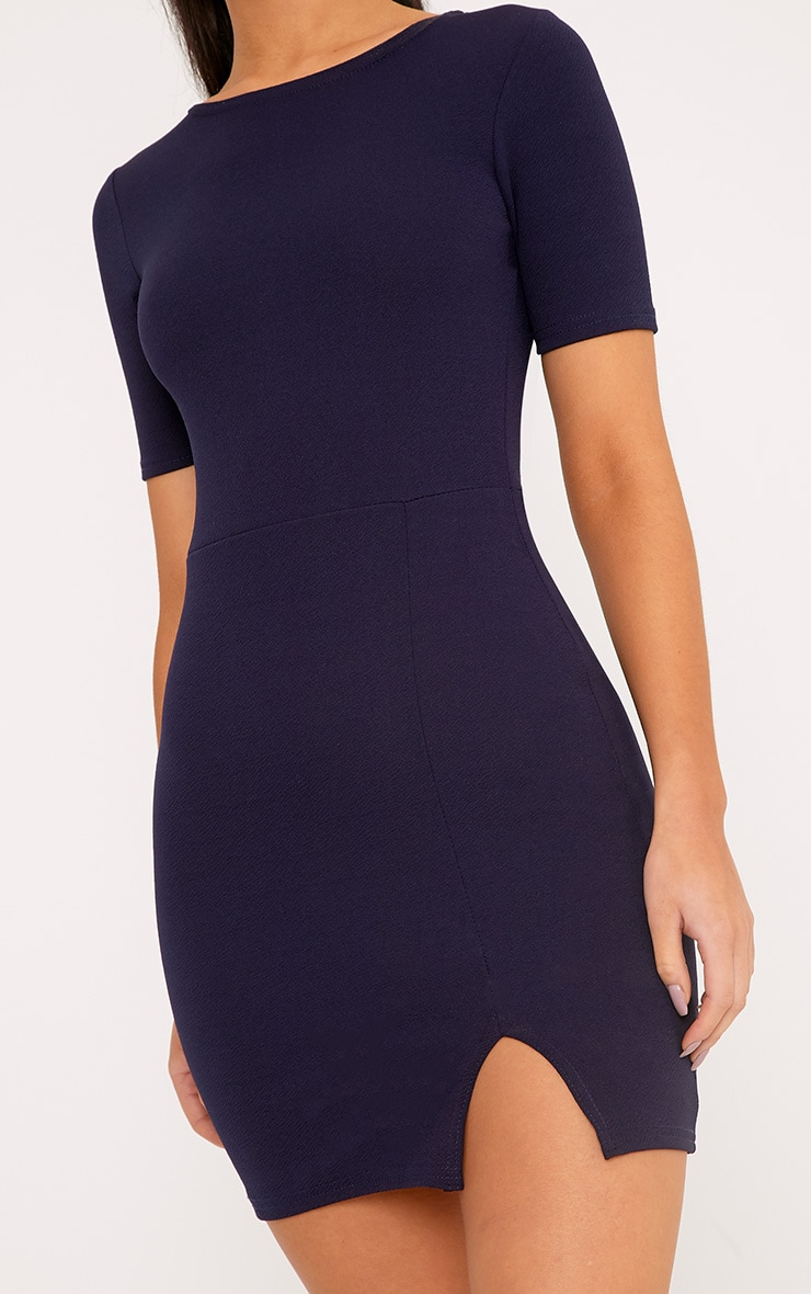 Freya Navy Split Detail Capped Sleeve Bodycon Dress 5