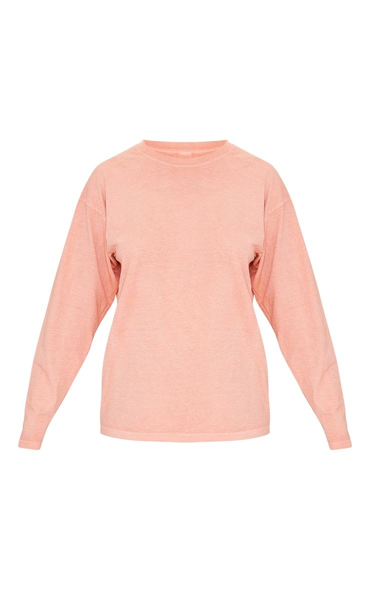Pastel Orange Washed Long Sleeve T Shirt 5
