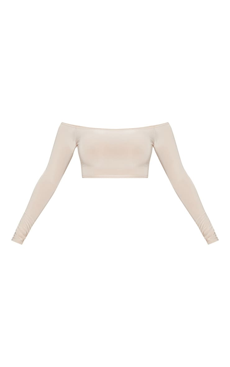 Shape Stone Slinky Bardot  Long Sleeve Crop Top 3