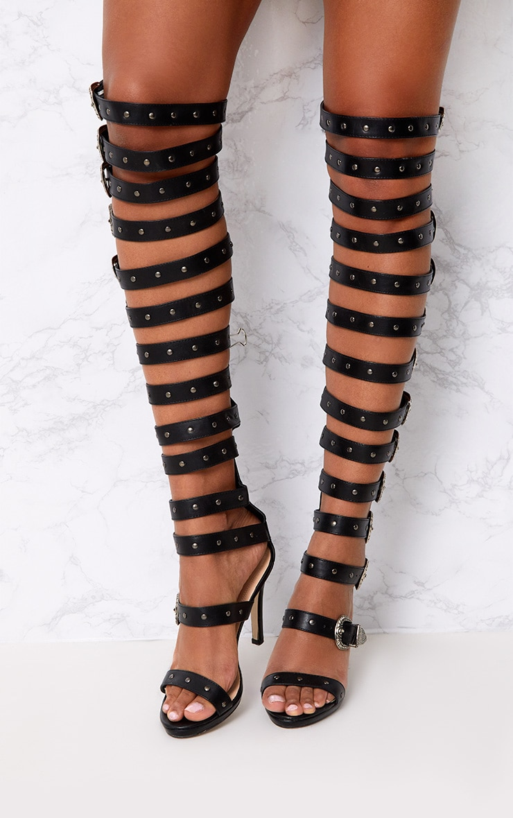Reese Black PU Buckle Thigh High Heels 2