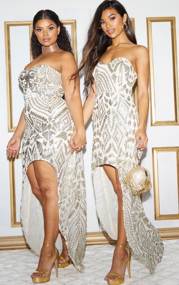 Plus Gold Sequin Bandeau Asymmetric Hem Maxi Dress 2