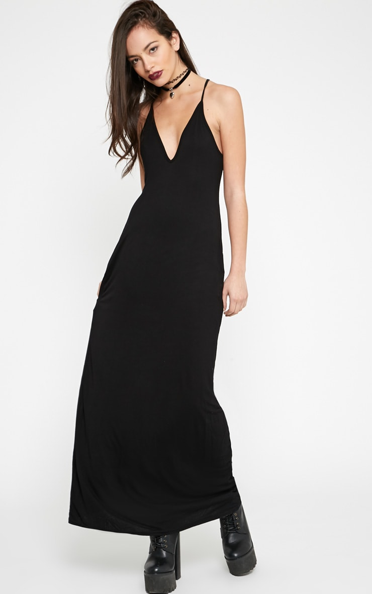 Annie Black Strappy Jersey Maxi Dress 4
