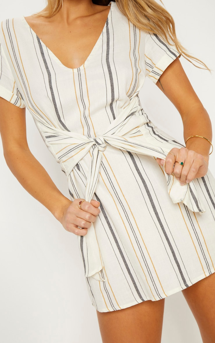 Cream Stripe Print Tie Detail Shift Dress 6