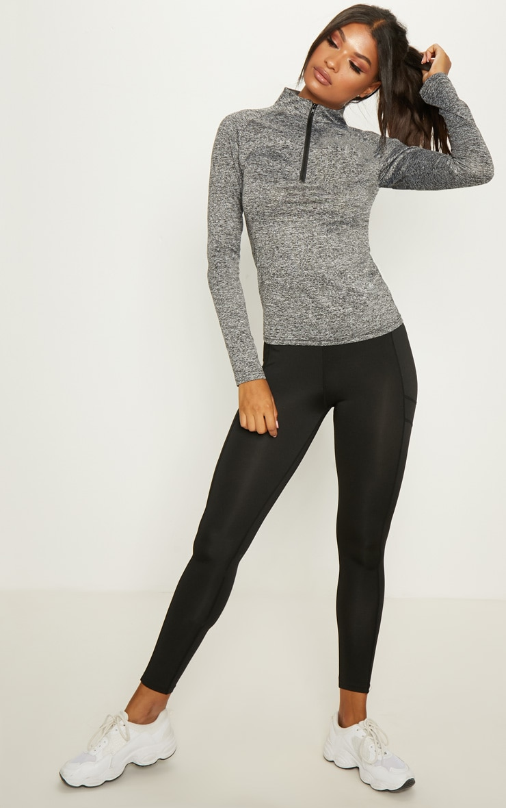 Black Speckle Long Sleeve Zip Up Sports Top 5