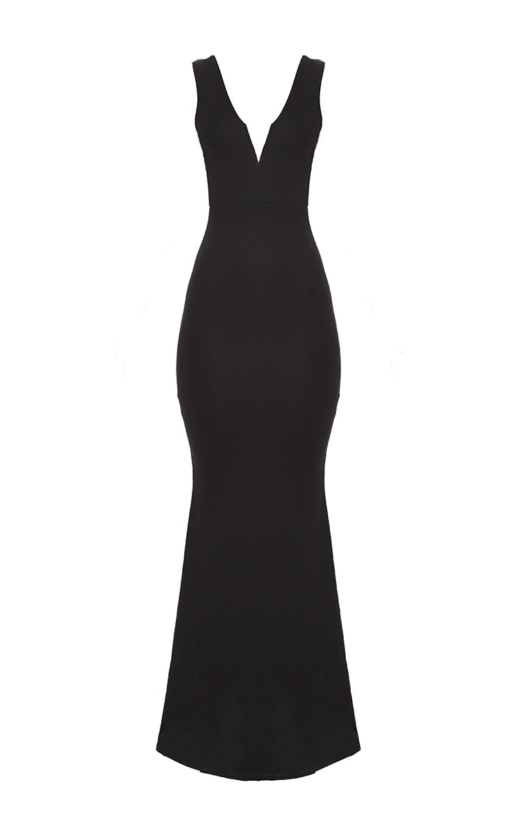 Black V Bar Plunge Maxi Dress 3