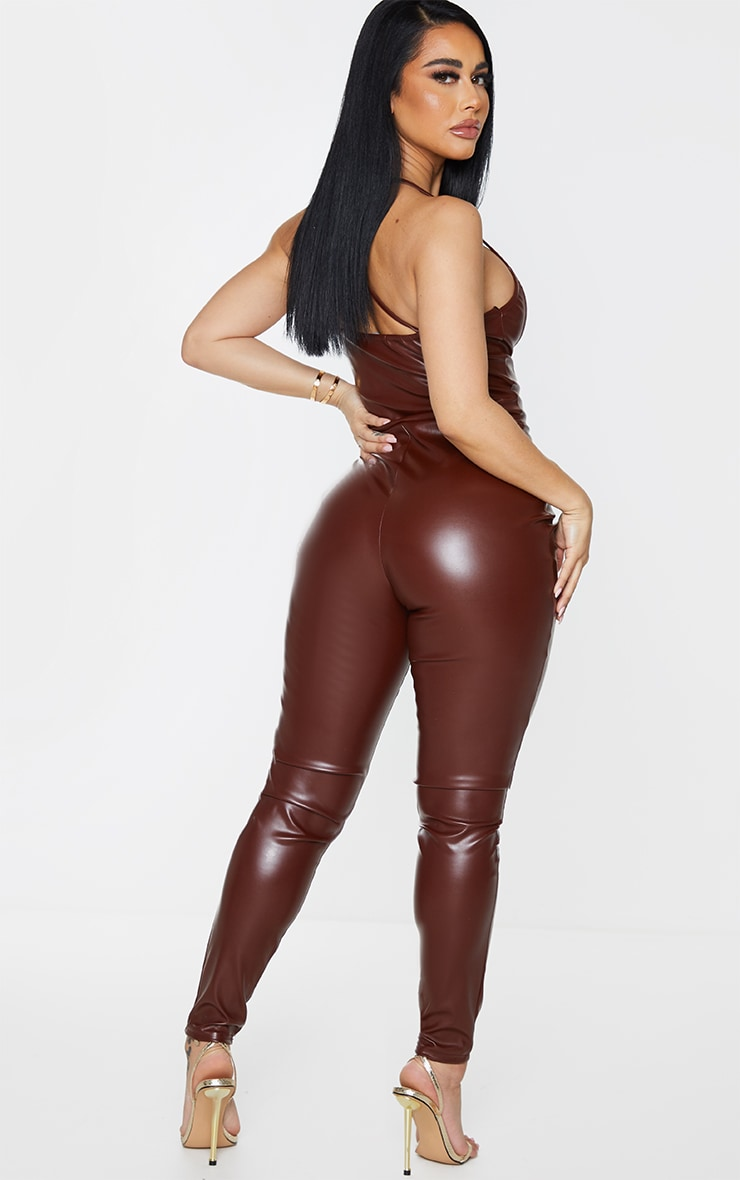 Shape Chocolate Brown PU Ruched Cut Out Jumpsuit 2