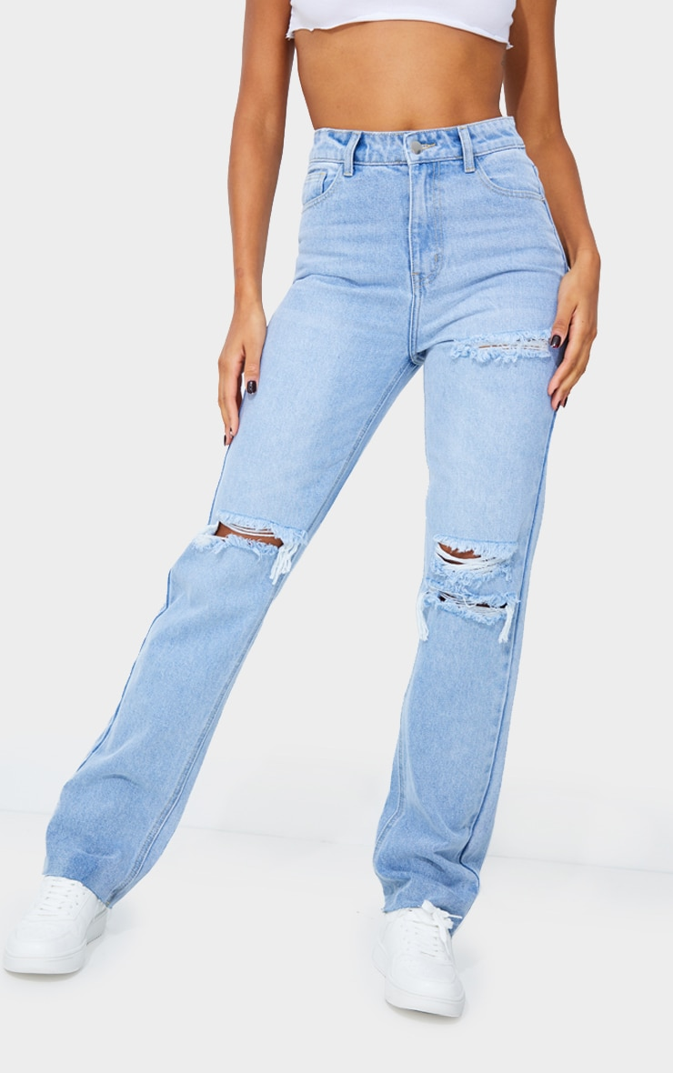 PRETTYLITTLETHING Light Blue Wash Distressed Long Leg Straight Jeans 2