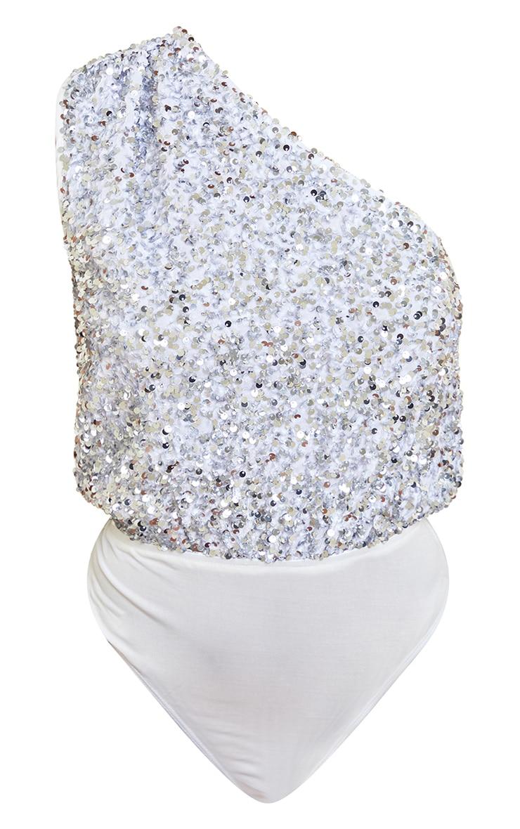 White Sequin One Shoulder Bodysuit 5