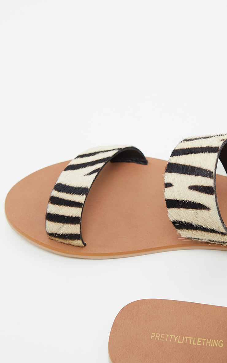 Zebra Twin Strap Basic Leather Sandal 5