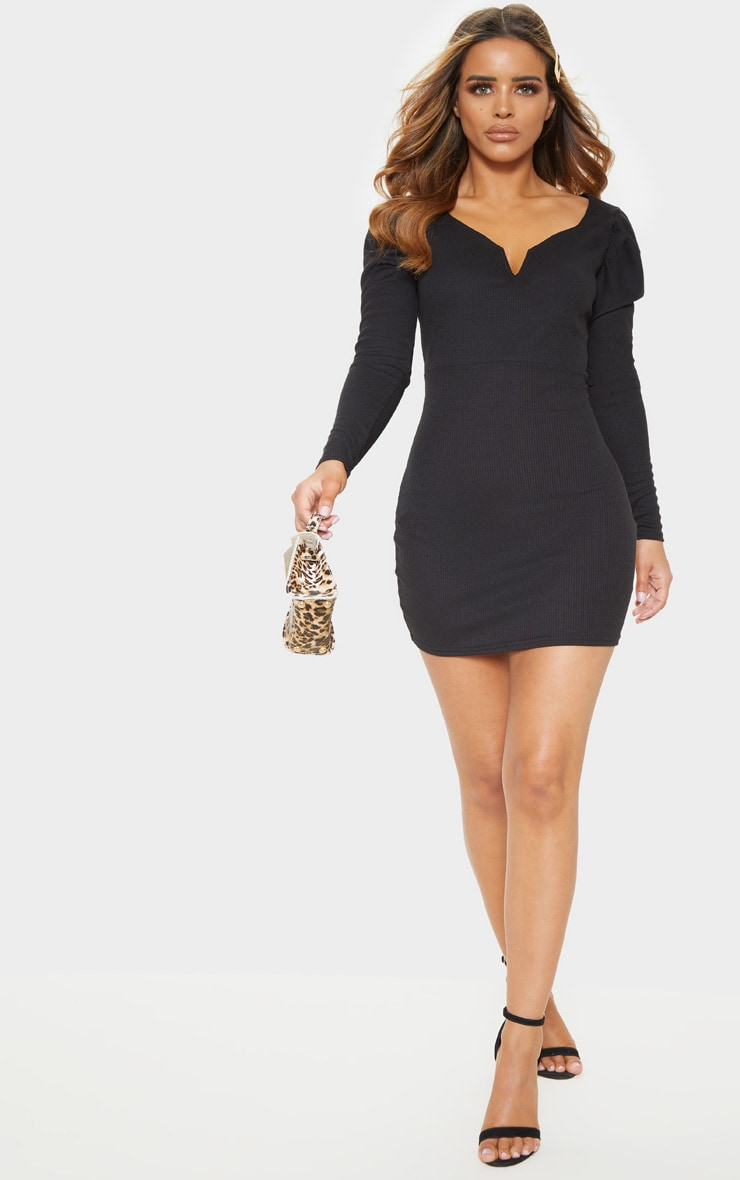 Petite Black Ribbed Long Sleeve Bodycon Dress 4