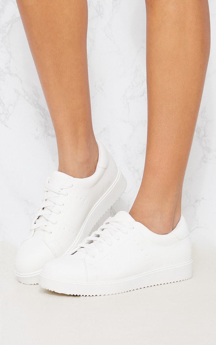 White Lace Up Trainer 1