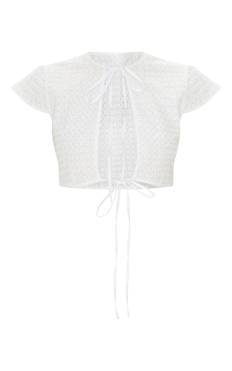 White Broderie Double Tie Front Short Sleeve Crop Top 5