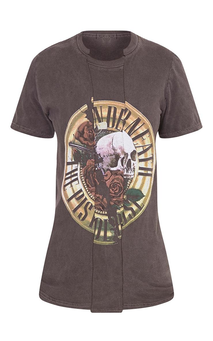 Pistols Slogan Black Step Hem Printed T Shirt 3
