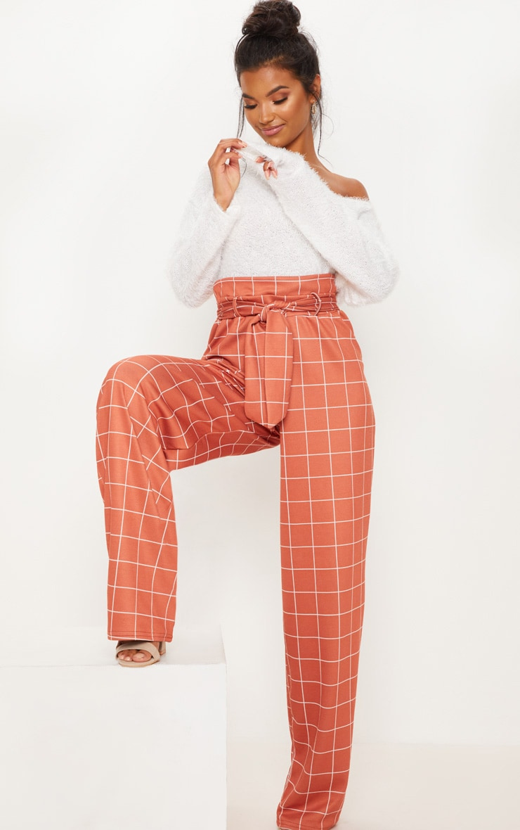 Rust Paperbag Waist Check Print Wide Leg Pants 1