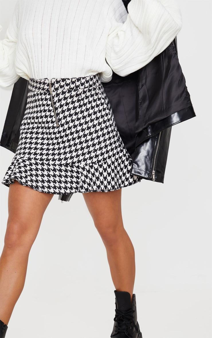 Petite Cream Flippy Hem Dogtooth Zip Mini Skirt 6