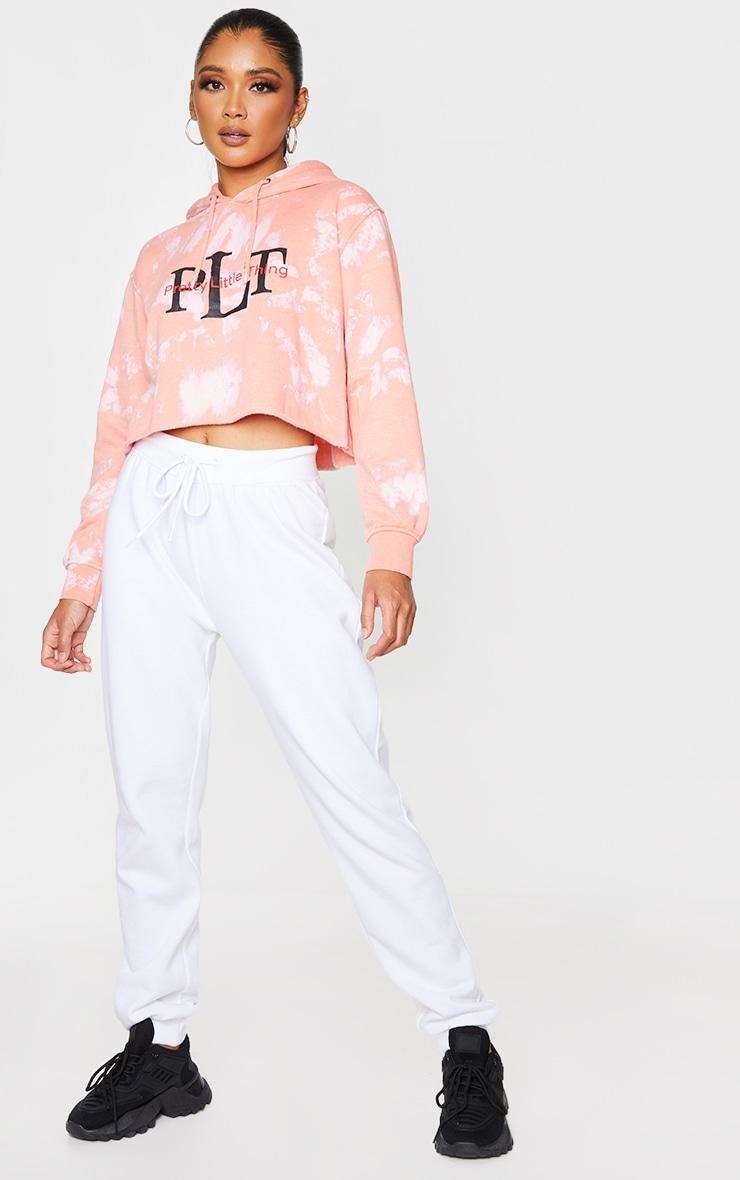 Peach Prettylittlething Slogan Washed Crop Hoodie 3