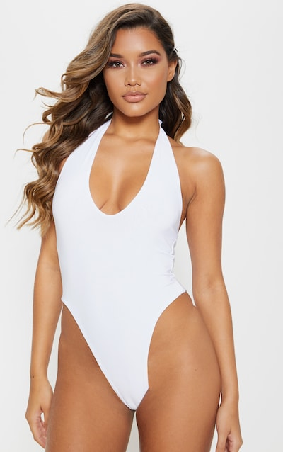 White Slinky Halterneck Bodysuit