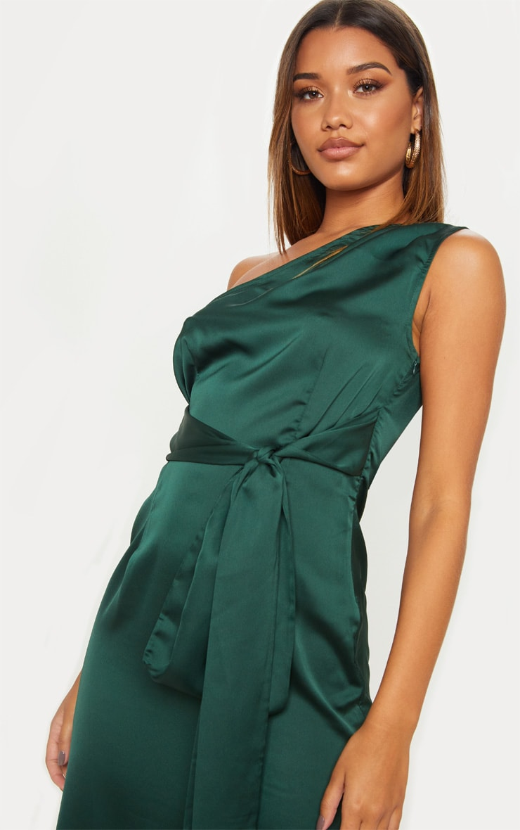 Emerald Green Satin One Shoulder Tie Waist Asymmetric Hem Midi Dress 5