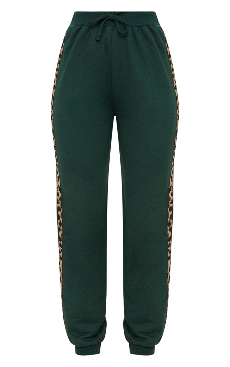 Emerald Green Leopard Print Stripe Joggers 3