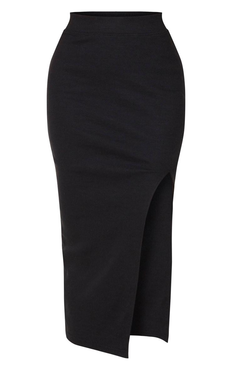 Tall Black Heavy Rib Midi Skirt 3