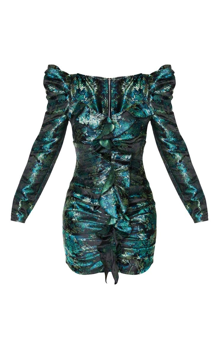 Robe moulante jacquard verte imprimé floral à volants et manches longues  3