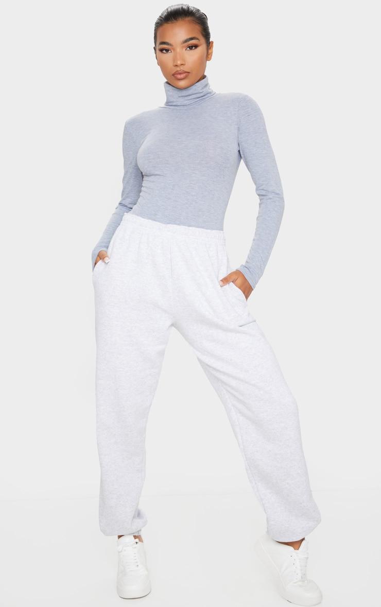 Basic Grey Marl Cotton Blend Roll Neck Bodysuit 3