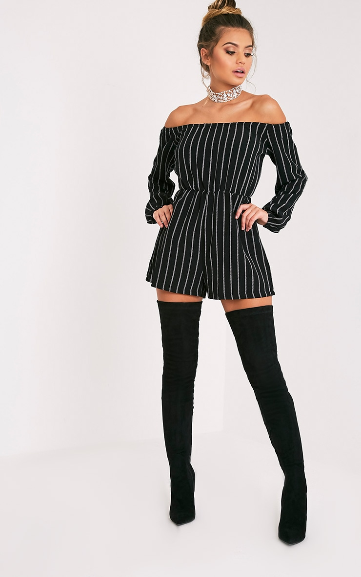 Kennie Monochrome Striped Bardot Playsuit 5