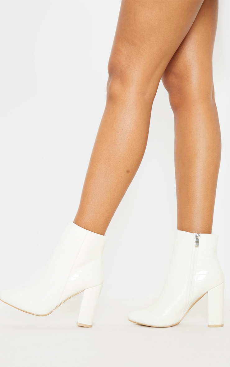 White Croc Behati Ankle Boot 2