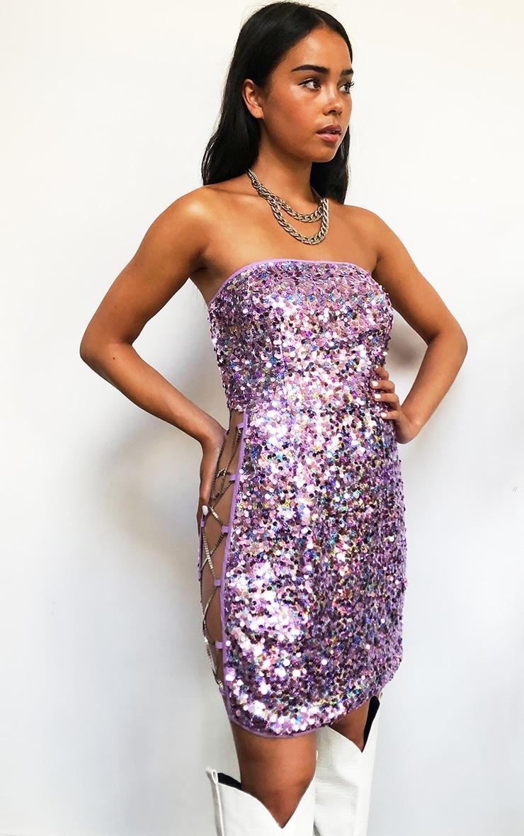 Lilac Sequin Chain Detail Bandeau Bodycon Dress 1