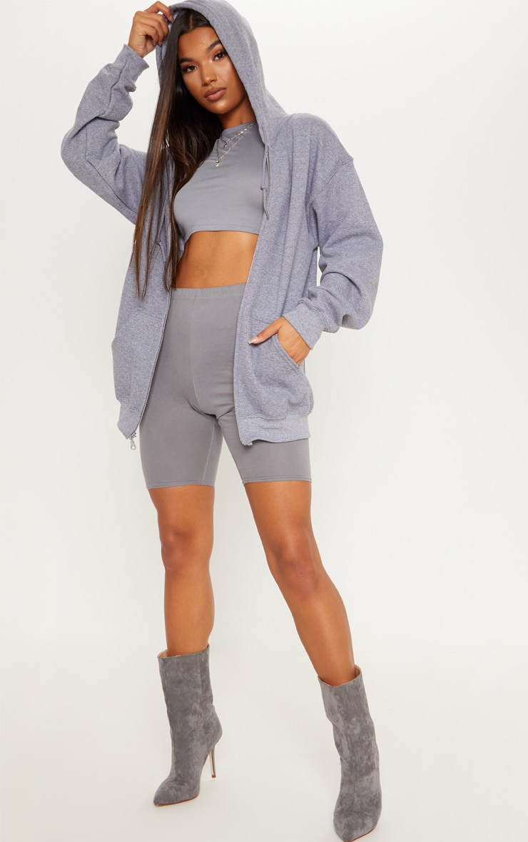 Grey Fleece Zip Up Hoodie 4