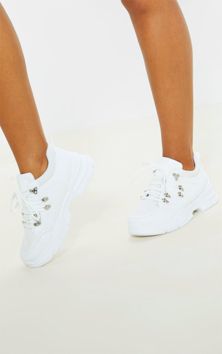 White Hiker Eyelet Detail Lace Up Trainer 2