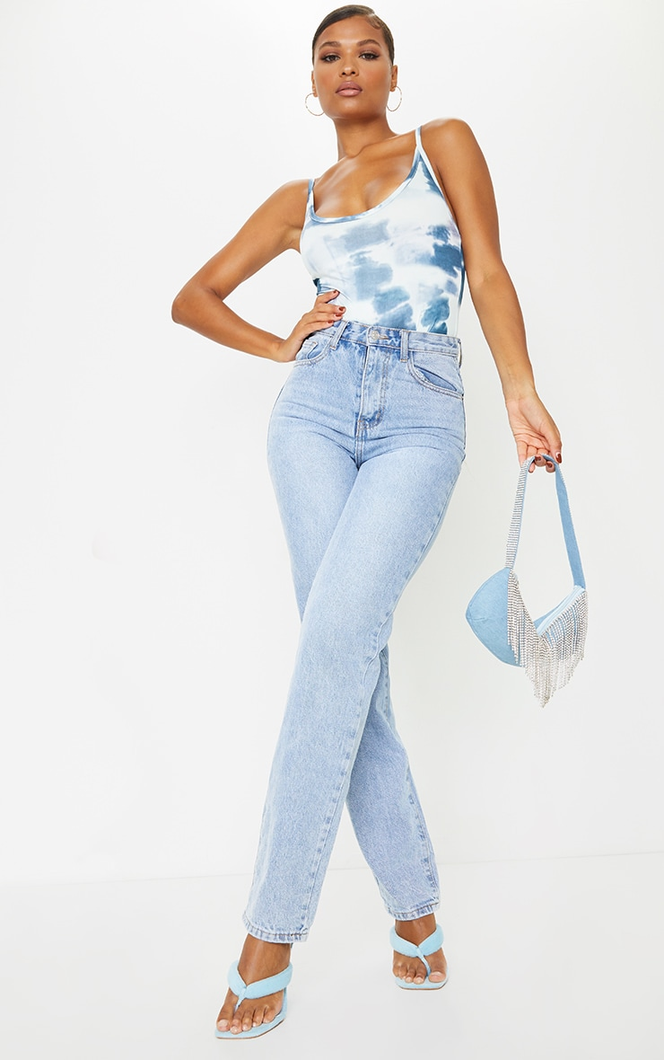 Blue Acid Wash Print Soft Touch Strappy Bodysuit 3