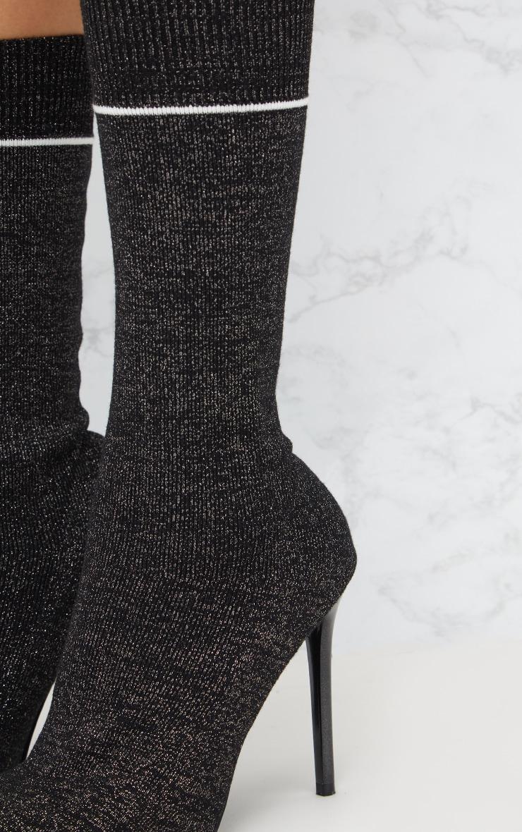 Black Glitter Sports Stripe Sock Boot 5