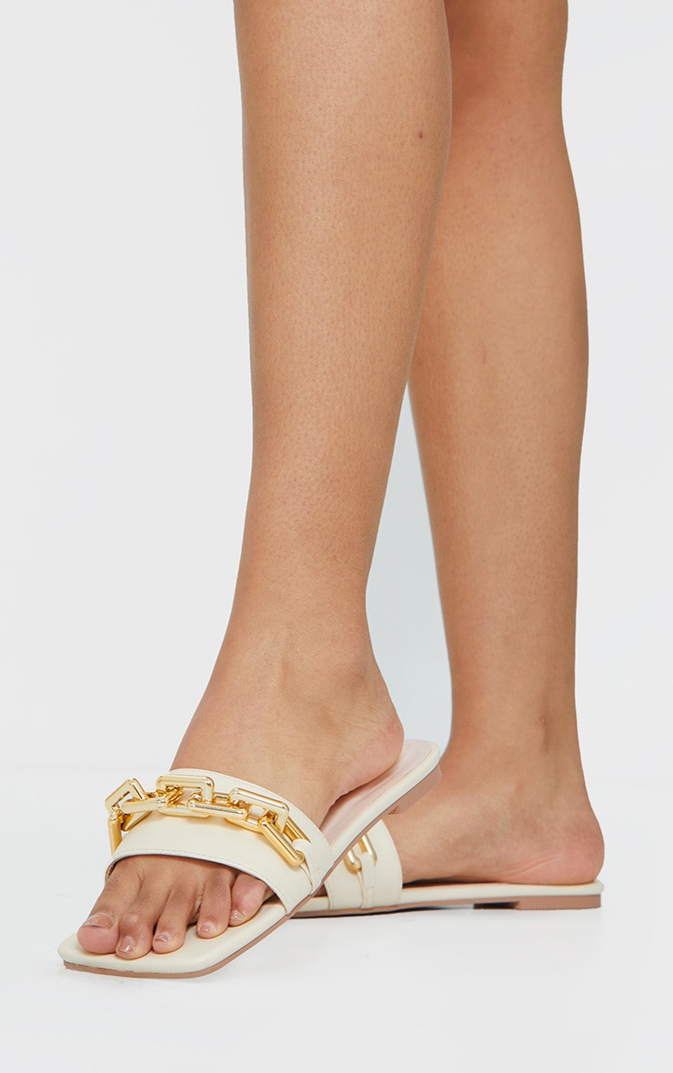 Cream Square Toe Chain Detail Faux Leather Mule Flat Sandal 1