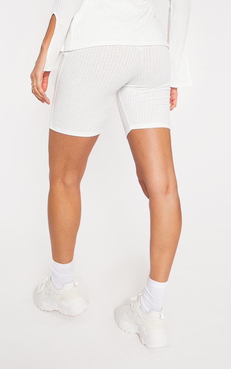 Cream Soft Rib Cycle Shorts 3