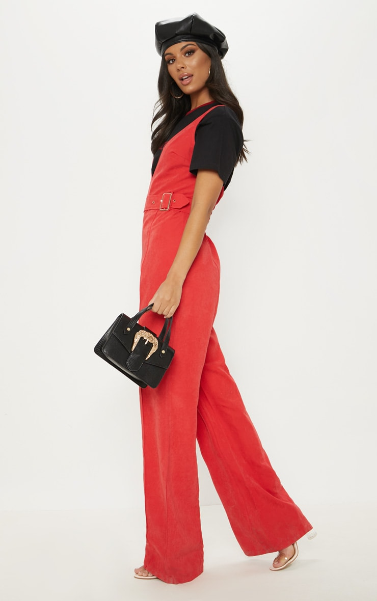 Red Soft Touch Belted Wide Leg Jumpsuit 4