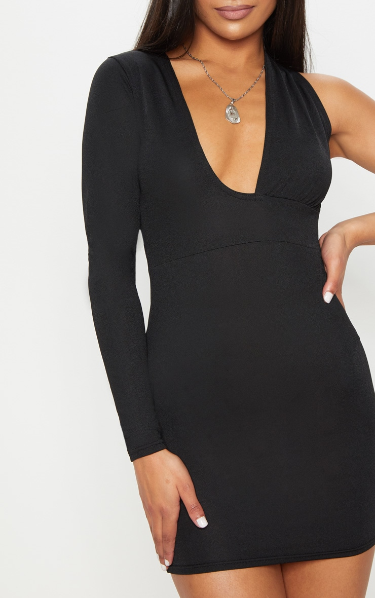 Black Asymmetric Sleeve Extreme Plunge Bodycon Dress 5