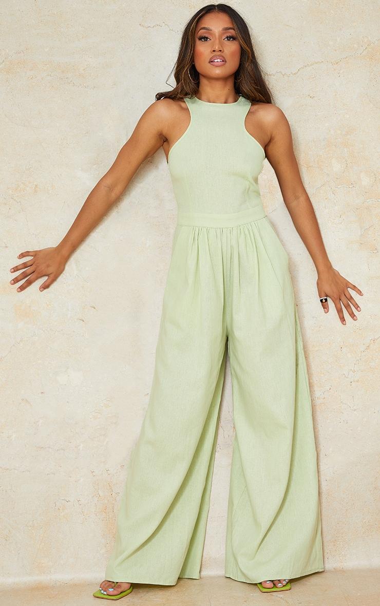 Petite Sage Green Racer Neck Linen Look Wide Leg Jumpsuit 4