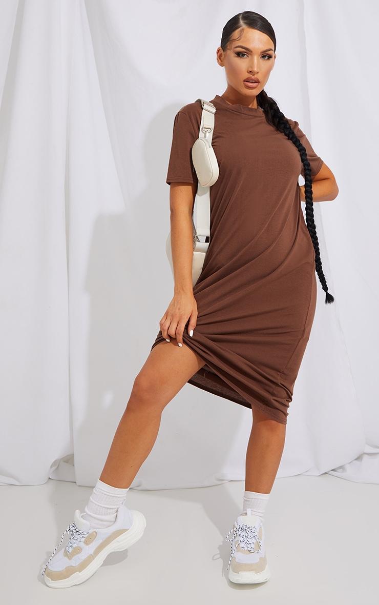 RECYCLED Chocolate Midi T Shirt Dress 2